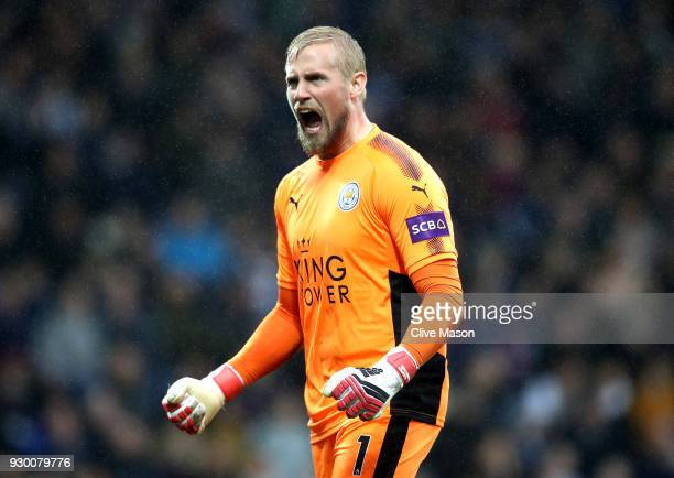 Kasper Schmeichel of Leicester City celebrates his side's first goal during the Premier League match between West Bromwich Albion and Leicester City...