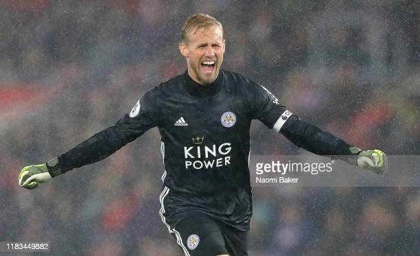 Kasper Schmeichel of Leicester City celebrates his sides ninth goal during the Premier League match between Southampton FC and Leicester City at St...