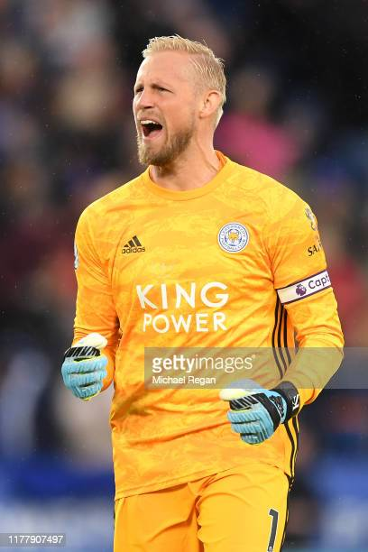 Kasper Schmeichel of Leicester City celebrates his sides second goal during the Premier League match between Leicester City and Newcastle United at...