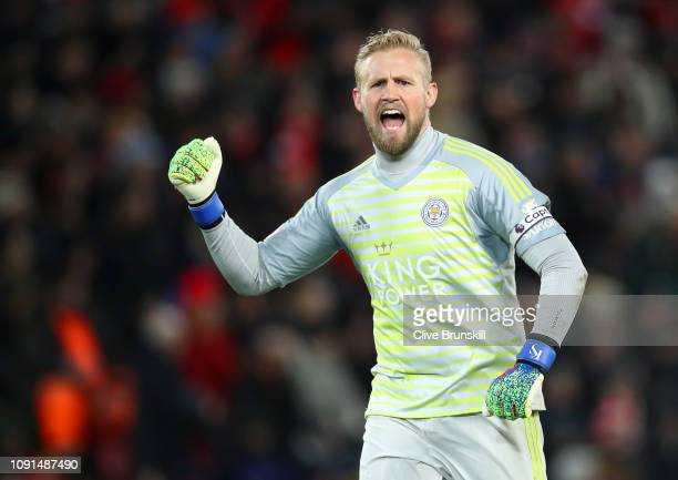Kasper Schmeichel of Leicester City celebrates his team's first goal during the Premier League match between Liverpool FC and Leicester City at...