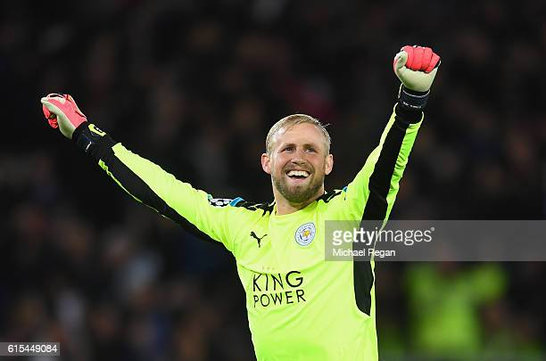 Kasper Schmeichel of Leicester City celebrates his team's first goal during the UEFA Champions League Group G match between Leicester City FC and FC...