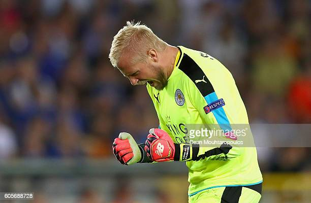 Kasper Schmeichel of Leicester City celebrates his teams opener during the UEFA Champions League match between Club Brugge KV and Leicester City FC...
