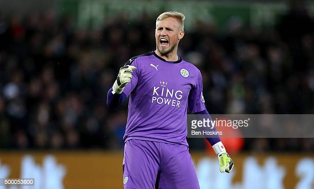 Kasper Schmeichel of Leicester City celebrates his team's second goal during the Barclays Premier League match between Swansea City and Leicester...
