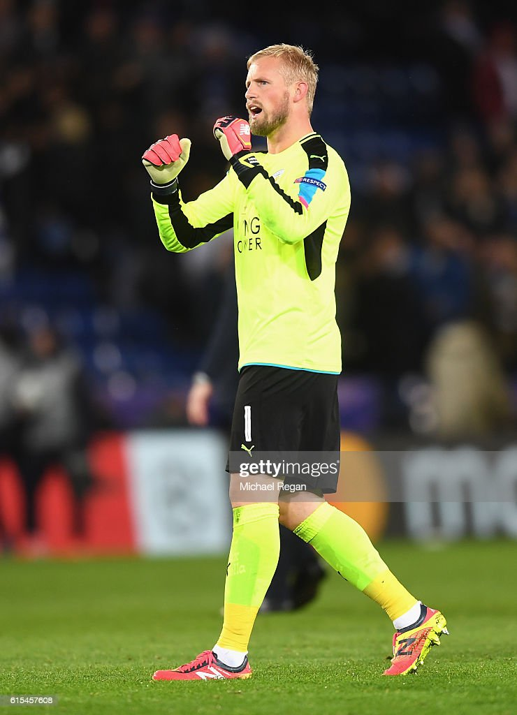 Kasper Schmeichel of Leicester City celebrates his team's win at the final whitsle during the UEFA Champions League Group G match between Leicester City FC and FC Copenhagen at The King Power Stadium on October 18, 2016 in Leicester, England.