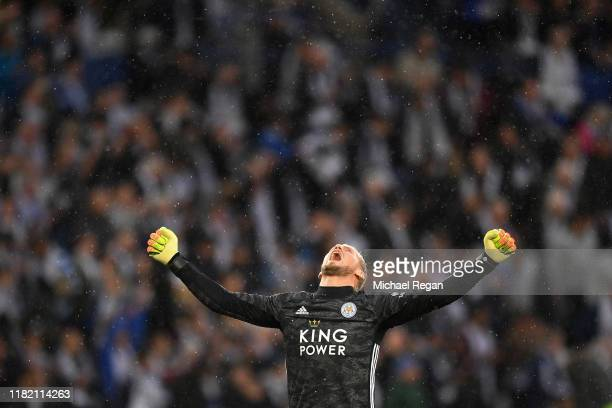 Kasper Schmeichel of Leicester City celebrates on the final whistle during the Premier League match between Leicester City and Burnley FC at The King...