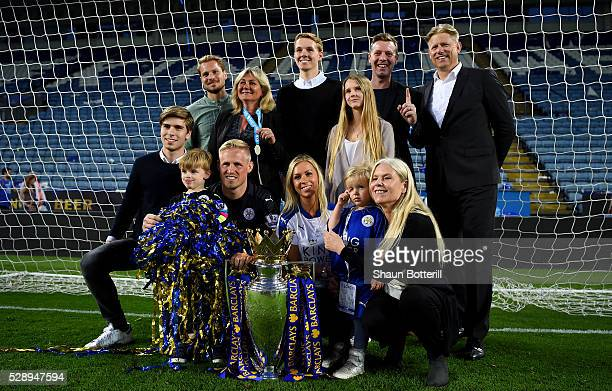 Kasper Schmeichel of Leicester City celebrates wit his family including his father Peter Schmeichel after the Barclays Premier League match between...