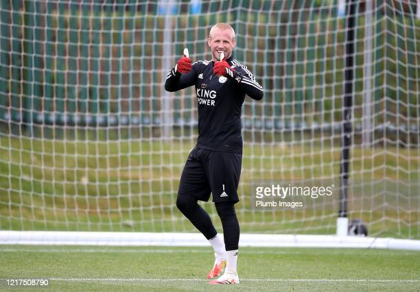 Kasper Schmeichel of Leicester City during a Leicester City training session at Belvoir Drive Training Complex on June 04th, 2020 in Leicester,...
