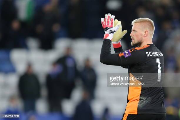 Kasper Schmeichel of Leicester City during the Emirates FA Cup Fifth Round match between Leicester City and Sheffield United at The King Power...