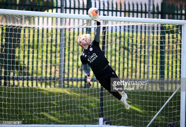 Kasper Schmeichel of Leicester City during the Leicester City training session at Belvoir Drive Training Complex on May 26th, 2020 in Leicester,...