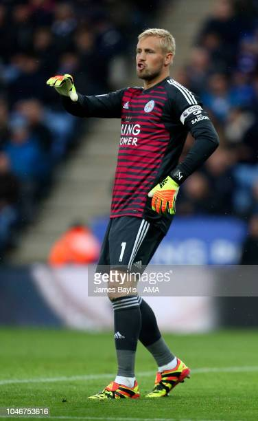 Kasper Schmeichel of Leicester City during the Premier League match between Leicester City and Everton FC at The King Power Stadium on October 6 2018...