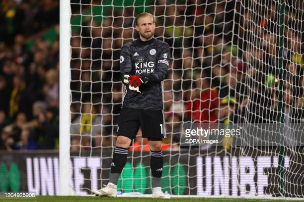 Kasper Schmeichel of Leicester City during the Premier League match between Norwich City and Leicester City at Carrow Road Final Score Norwich City...