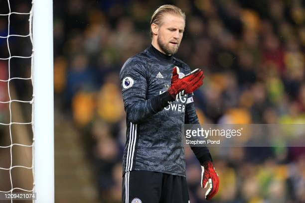 Kasper Schmeichel of Leicester City during the Premier League match between Norwich City and Leicester City at Carrow Road on February 28 2020 in...