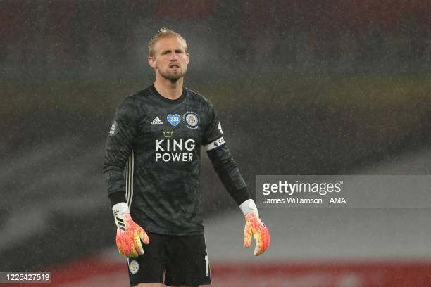 Kasper Schmeichel of Leicester City during the Premier League match between Arsenal FC and Leicester City at Emirates Stadium on July 7 2020 in...