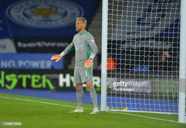 Kasper Schmeichel of Leicester City during the Premier League match between Leicester City and Burnley at The King Power Stadium on September 20 2020...