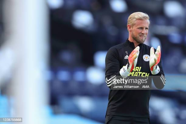 Kasper Schmeichel of Leicester City during the Premier League match between Manchester City and Leicester City at Etihad Stadium on September 27 2020...