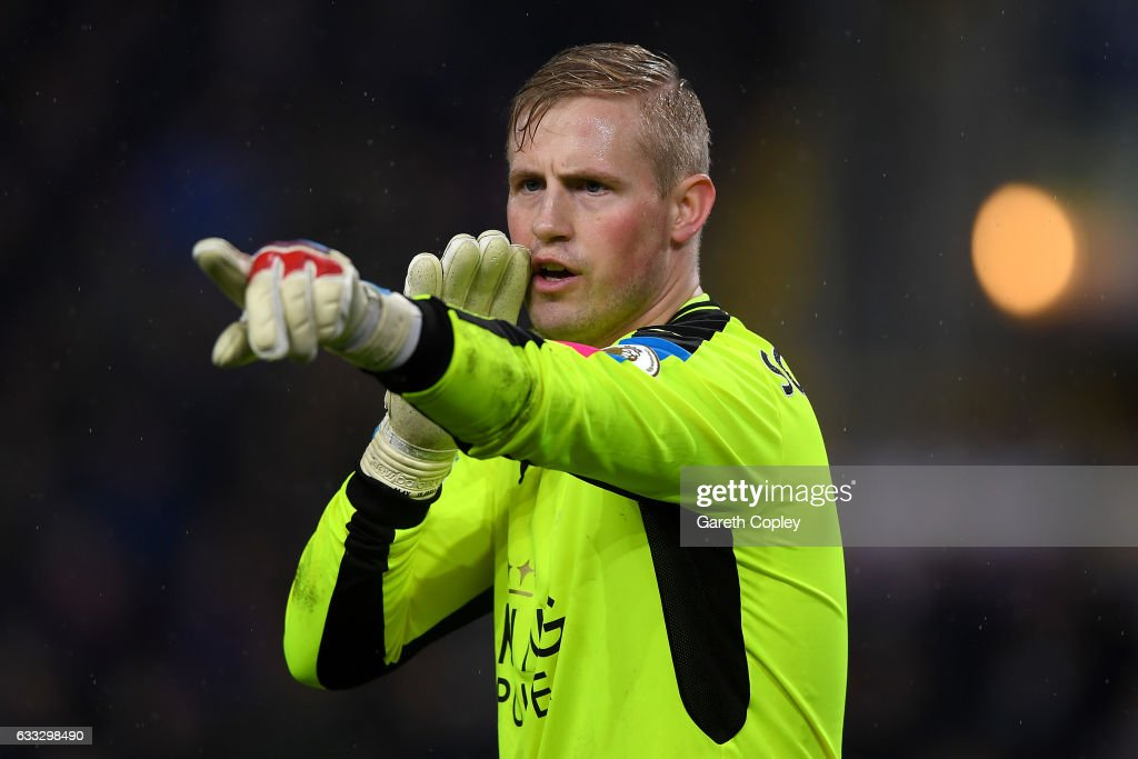 Kasper Schmeichel of Leicester City during the Premier League match between Burnley and Leicester City at Turf Moor on January 31, 2017 in Burnley, England.