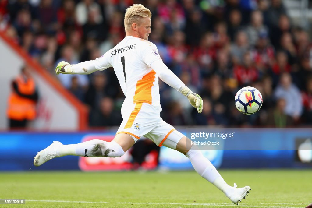 Kasper Schmeichel of Leicester City during the Premier League match between AFC Bournemouth and Leicester City at Vitality Stadium on September 30, 2017 in Bournemouth, England.