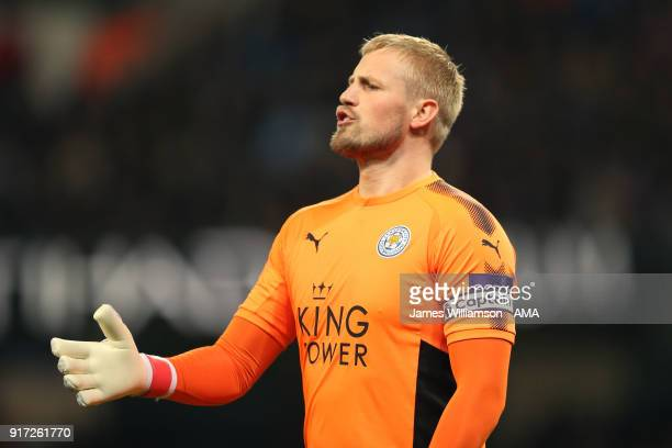 Kasper Schmeichel of Leicester City during the Premier League match between Manchester City and Leicester City at Etihad Stadium on February 10 2018...