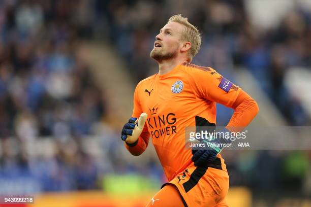 Kasper Schmeichel of Leicester City during the Premier League match between Leicester City and Newcastle United at The King Power Stadium on April 7...