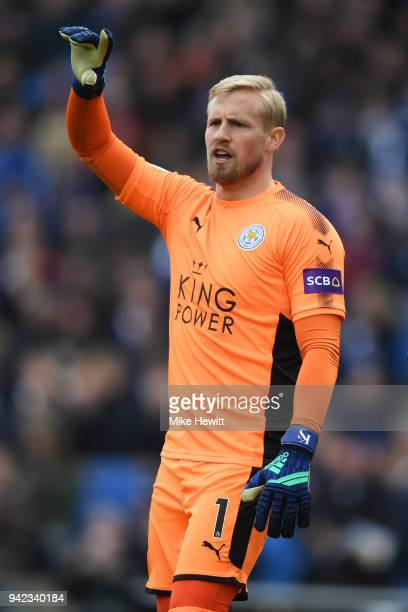 Kasper Schmeichel of Leicester City gesticulates during the Premier League match between Brighton and Hove Albion and Leicester City at Amex Stadium...