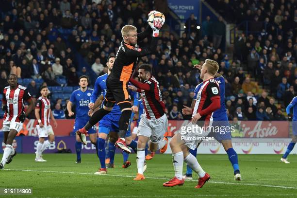 Kasper Schmeichel of Leicester City holds on to a cross during the FA Cup Fifth round match between Leicester City and Sheffield United at The King...