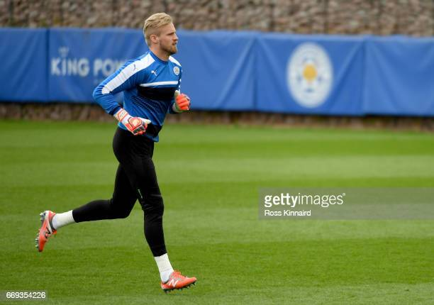 Kasper Schmeichel of Leicester City in action during a training session at their Belvoir drive traning centre prior to the Champins League match on...