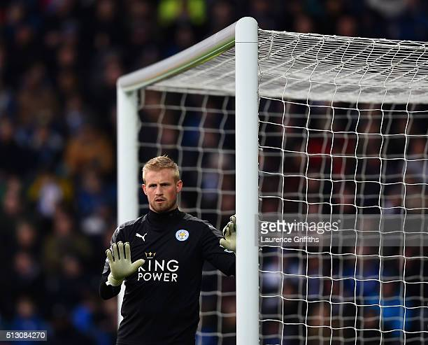 Kasper Schmeichel of Leicester City in action during the Barclays Premier League match between Leicester City and Norwich City at The King Power...