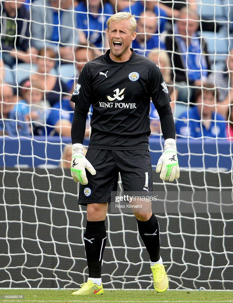 Kasper Schmeichel of Leicester City in action during the pre season friendly match between Leicester City and Werder Bremen at The King Power Stadium on August 9, 2014 in Leicester, England.