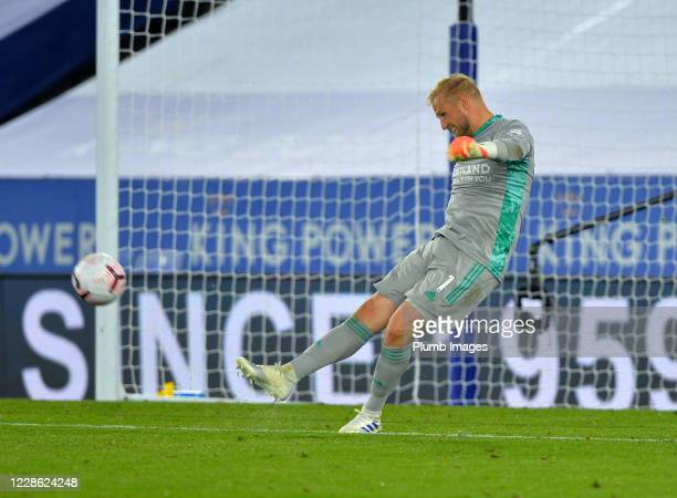 Kasper Schmeichel of Leicester City in action during the Premier League match between Leicester City and Burnley at The King Power Stadium on...