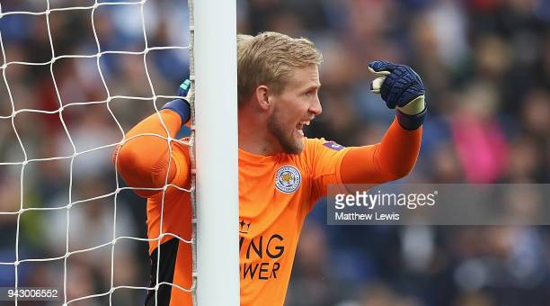 Kasper Schmeichel of Leicester City in action during the Premier League match between Leicester City and Newcastle United at The King Power Stadium...