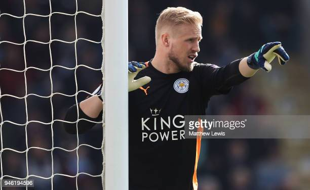 Kasper Schmeichel of Leicester City in action during the Premier League match between Burnley and Leicester City at Turf Moor on April 14 2018 in...