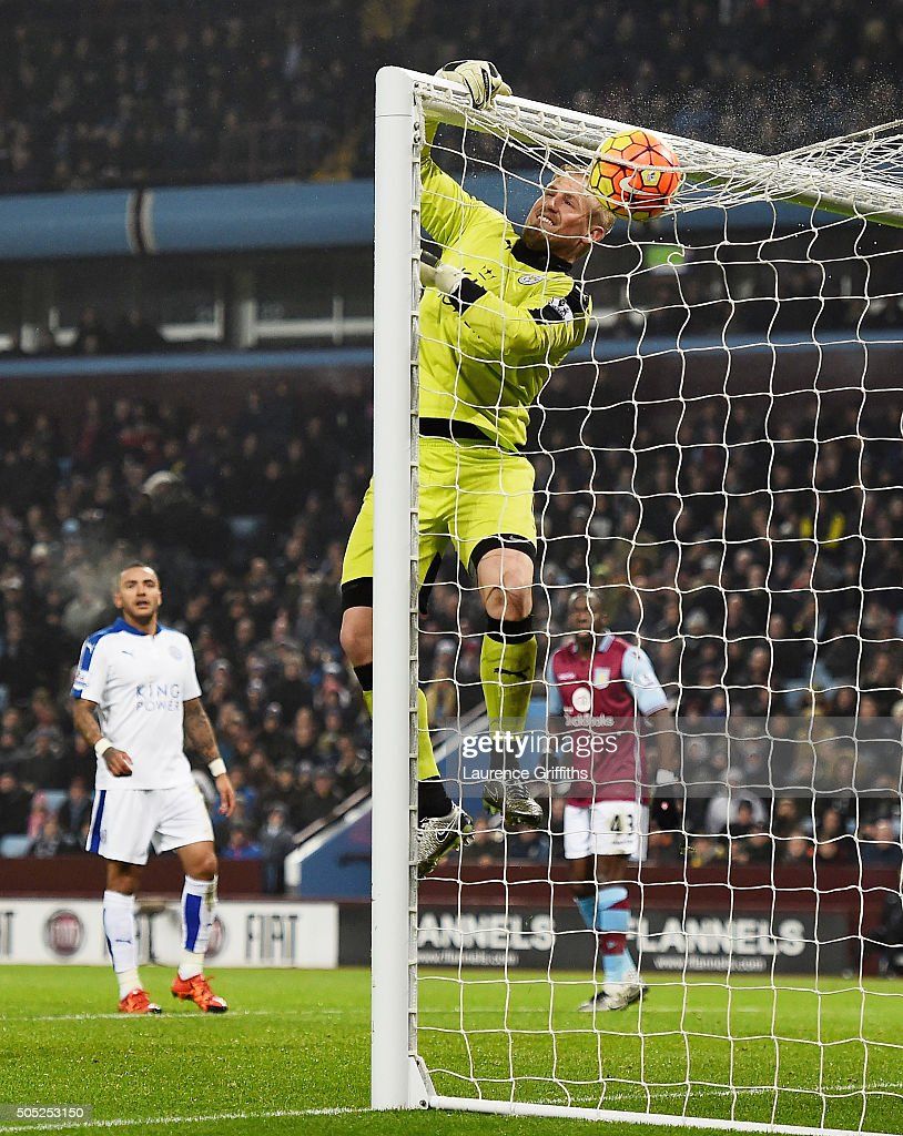 Kasper Schmeichel of Leicester City jumps for the ball during the Barclays Premier League match between Aston Villa and Leicester City at Villa Park on January 16, 2016 in Birmingham, England.