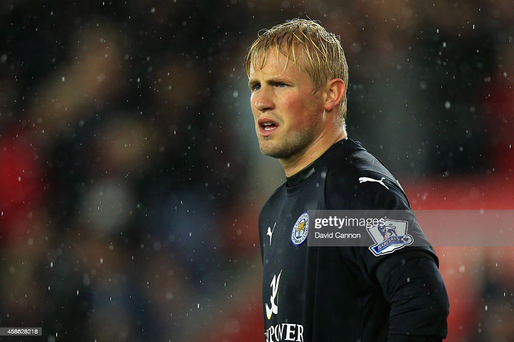 Kasper Schmeichel of Leicester City looks on during the Barclays Premier League match between Southampton and Leicester City at St Mary's Stadium on November 8, 2014 in Southampton, England.