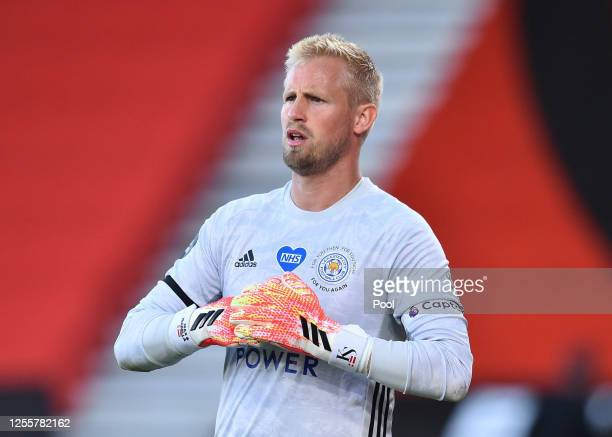 Kasper Schmeichel of Leicester City looks on during the Premier League match between AFC Bournemouth and Leicester City at Vitality Stadium on July...