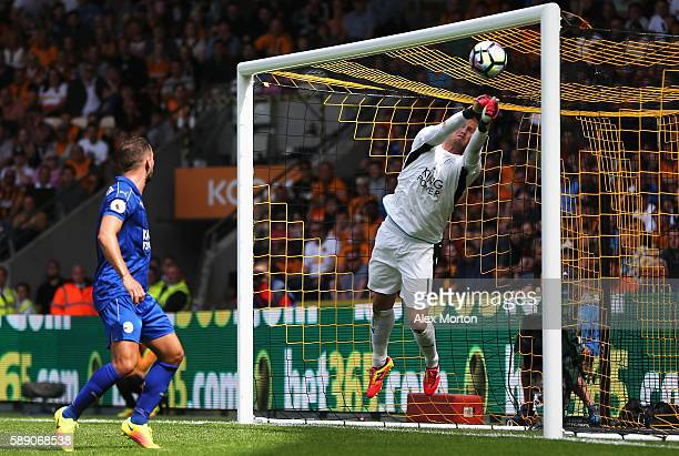 Kasper Schmeichel of Leicester City makes a save during the Premier League match between Hull City and Leicester City at KCOM Stadium on August 13...