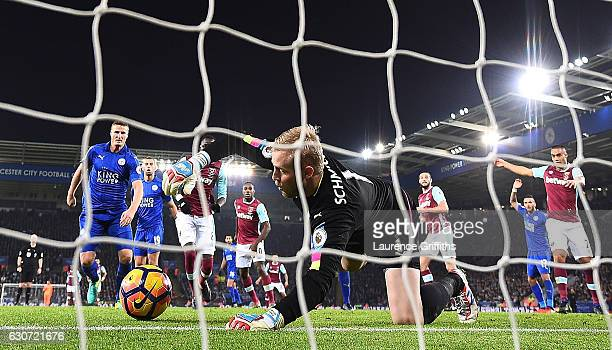 Kasper Schmeichel of Leicester City makes a save during the Premier League match between Leicester City and West Ham United at The King Power Stadium...