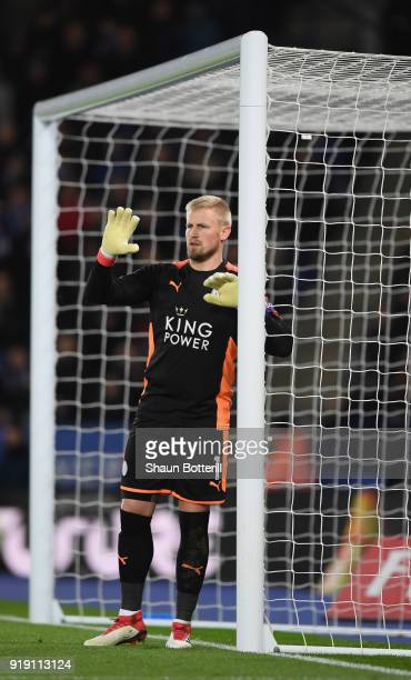 Kasper Schmeichel of Leicester City organises the wall during the The Emirates FA Cup Fifth Round between Leicester City and Sheffield United at The...
