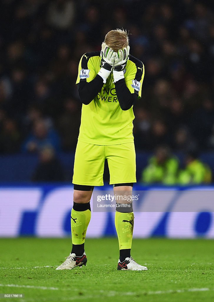 Kasper Schmeichel of Leicester City reacts after the Barclays Premier League match between Leicester City and Bournemouth at The King Power Stadium on January 2, 2016 in Leicester, England.