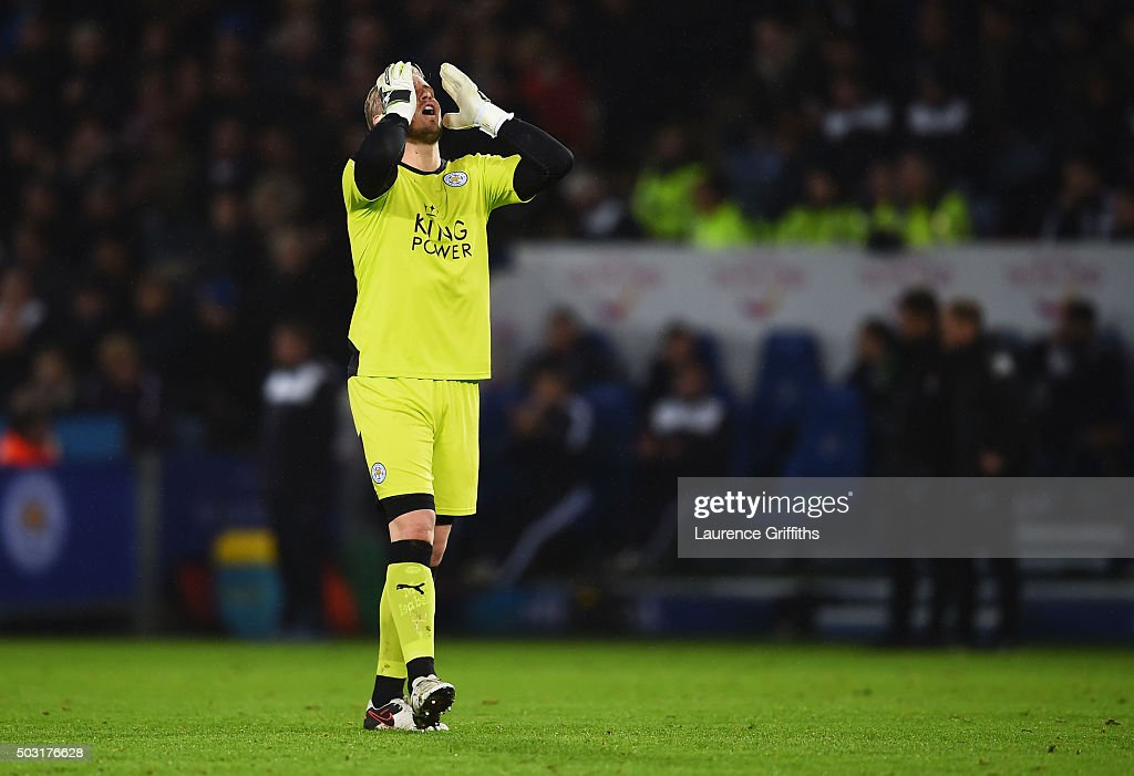 Kasper Schmeichel of Leicester City reacts during the Barclays Premier League match between Leicester City and Bournemouth at The King Power Stadium on January 2, 2016 in Leicester, England.
