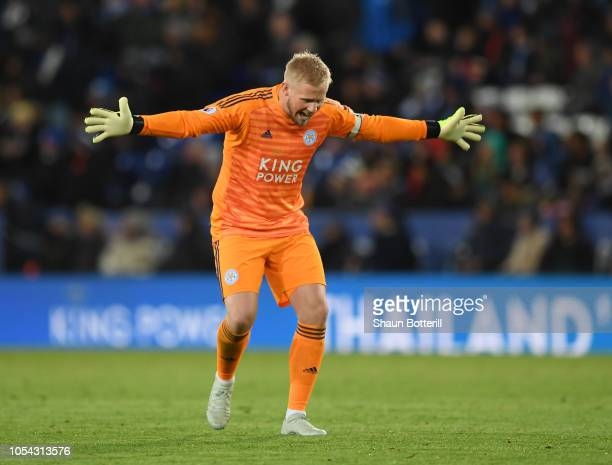 Kasper Schmeichel of Leicester City reacts during the Premier League match between Leicester City and West Ham United at The King Power Stadium on...