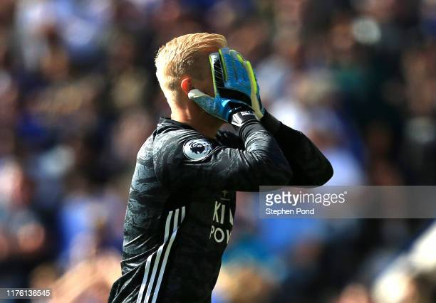 Kasper Schmeichel of Leicester City reacts during the Premier League match between Leicester City and Tottenham Hotspur at The King Power Stadium on...