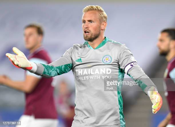 Kasper Schmeichel of Leicester City reacts during the Premier League match between Leicester City and Burnley at The King Power Stadium on September...