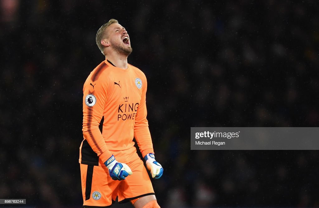 Kasper Schmeichel of Leicester City reacts during the Premier League match between Watford and Leicester City at Vicarage Road on December 26, 2017 in Watford, England.