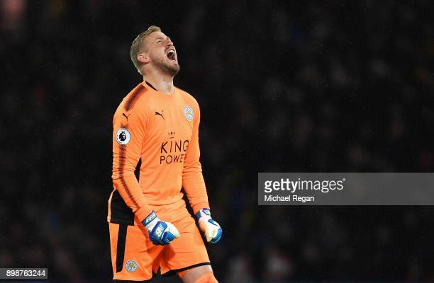 Kasper Schmeichel of Leicester City reacts during the Premier League match between Watford and Leicester City at Vicarage Road on December 26 2017 in...