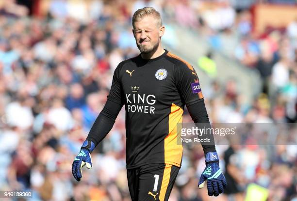 Kasper Schmeichel of Leicester City reacts during the Premier League match between Burnley and Leicester City at Turf Moor on April 14 2018 in...