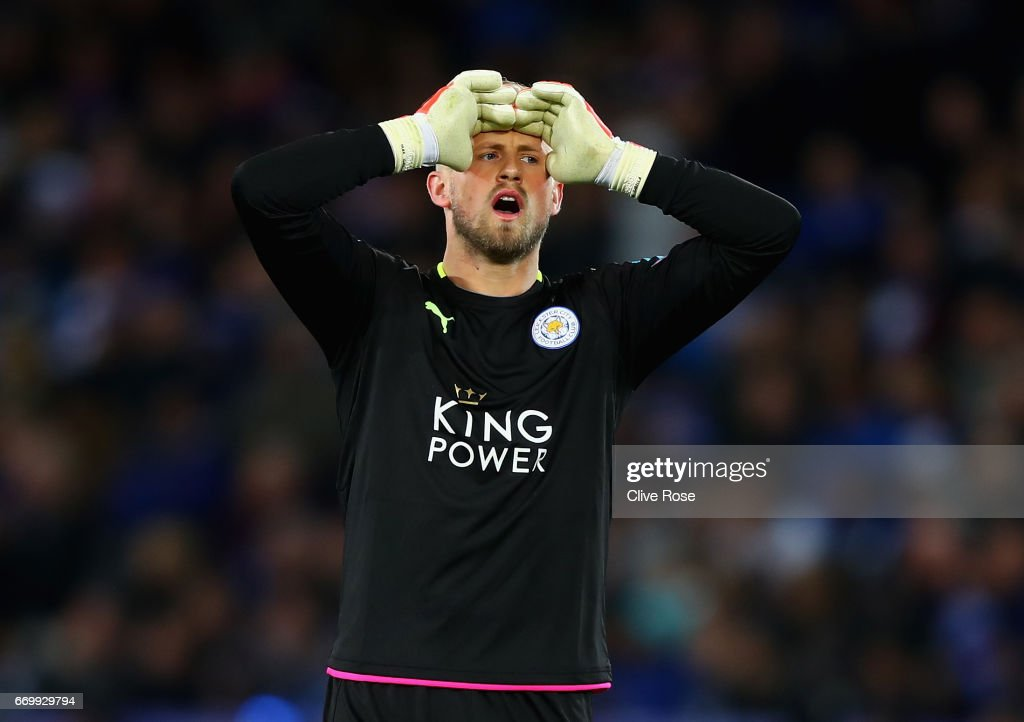 Kasper Schmeichel of Leicester City reacts during the UEFA Champions League Quarter Final second leg match between Leicester City and Club Atletico de Madrid at The King Power Stadium on April 18, 2017 in Leicester, United Kingdom.