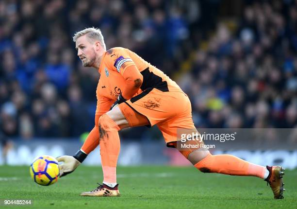 Kasper Schmeichel of Leicester City rolls the ball out during the Premier League match between Chelsea and Leicester City at Stamford Bridge on...