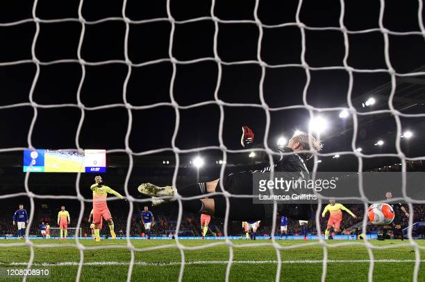 Kasper Schmeichel of Leicester City saves a penalty from Sergio Aguero of Manchester City during the Premier League match between Leicester City and...