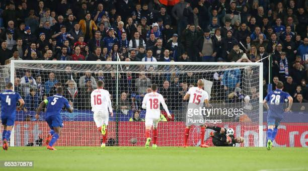 Kasper Schmeichel of Leicester City saves the penalty by Steven N'Zonzi of Sevilla during the UEFA Champions League Round of 16 match between...