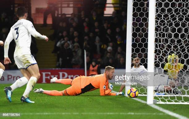 Kasper Schmeichel of Leicester City scores an own goal during the Premier League match between Watford and Leicester City at Vicarage Road on...